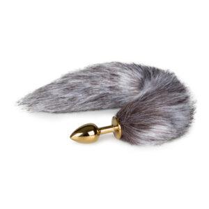 Kleine goudkleurige buttplug met bruin/witte vossenstaart #1