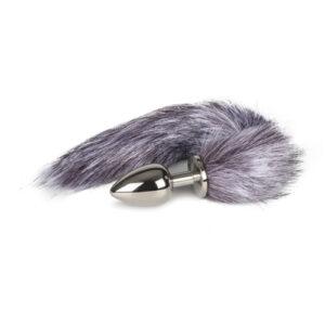 Grote zilverkleurige buttplug met grijze vossenstaart #1